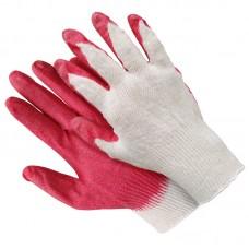 Перчатки хлопчатобумажные латекс одинарный облив 10 класс красный